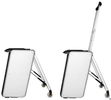 La valise TravelTeq en aluminium sert aussi de siège et de haut-parleur