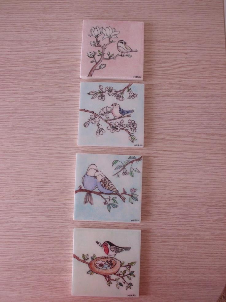 My little birds  10x10 cm ceramic tiles  handmade by Meral