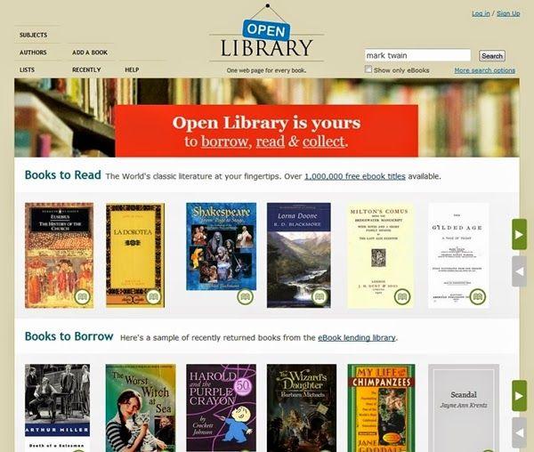 """""""Open Library"""" es una página que muestra el proyecto colaborativo y sin ánimo de lucro para el registro de todos los libros publicados en todos los tiempos. De los muchos millones de libros ya registrados, un millón de ellos se muestran digitalizados (aquellos cuyos derechos de autor han vencido) y el resto se prestan o muestran la dirección de cómo comprarlos. Comprende libros en multitud de idiomas, aunque las obras en inglés son predominantes."""