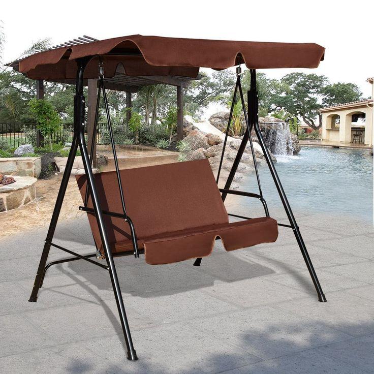 Costway Loveseat Patio Canopy Swing Glider Hammock Cushioned Steel Frame Outdoor Coffee, Brown, Patio Furniture