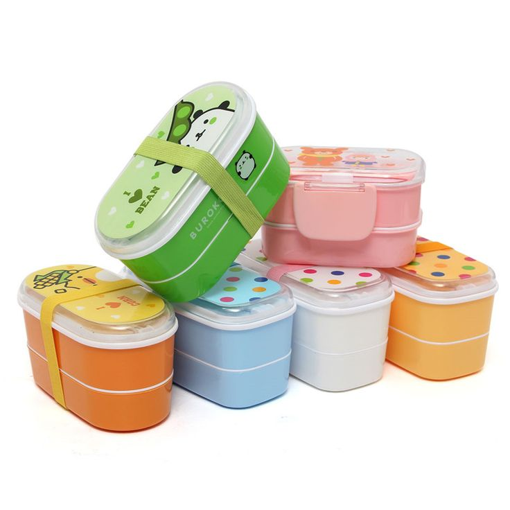1pcs Top Quality Portable Healthy Plastic Lunch Box Bento Food Container Japan Cartoon Dinnerware Cutlery with Chopsticks.