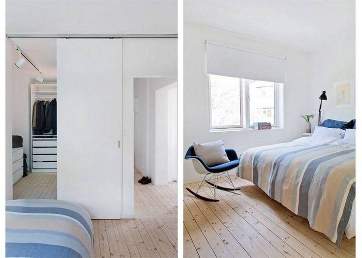 SOVEROMMET: I stedet for å lage en tradisjonell dør mellom sove- og garderoberom, ble takhøyden mellom rommene beholdt. Det skaper en illusjon av at rommet er høyere enn det egentlig er. Når dørbladet inn til garderoben skyves til side, er det som om hele veggen beveger seg. Skyvedøren har Kenneth laget selv, skinnesystemer er levert av eiklid.no. Lysskinnen Mini-Mondo fra Formalighting er kjøpt hos lightcom.no.