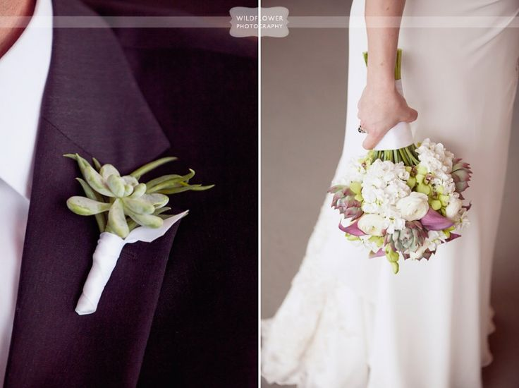 Gorgeous wedding bouquet with white flowers, pink calla lilies and green succulents, and detail of groom's simple succulent boutonniere... From a rustic wedding at the Columbia Country Club in Missouri.  #succulentbouquet #succulentboutonniere #wildflowerphotography
