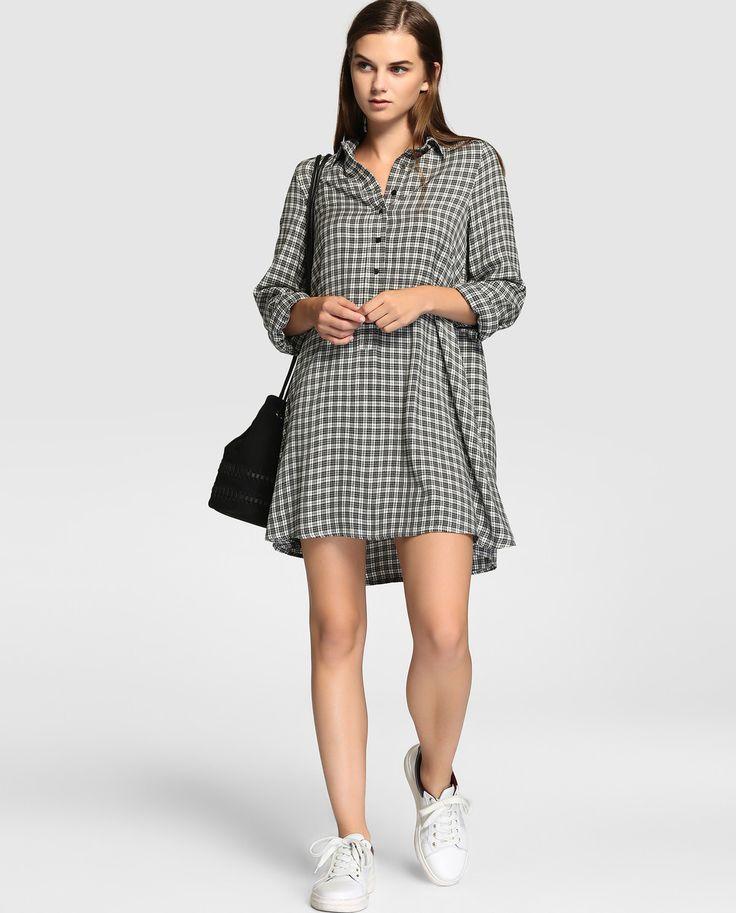 Camisa larga de mujer Easy Wear con estampado de cuadros
