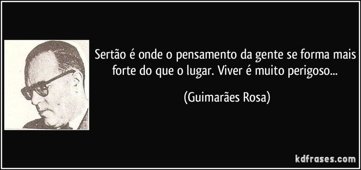 Sertão é onde o pensamento da gente se forma mais forte do que o lugar. Viver é muito perigoso... (Guimarães Rosa)