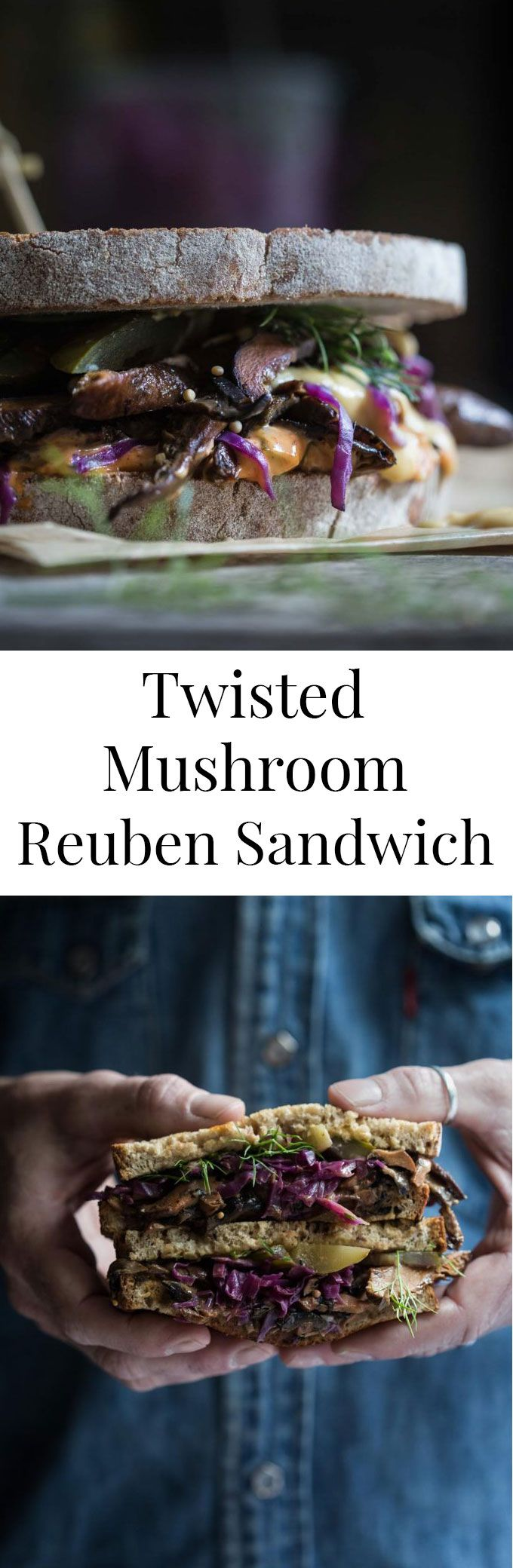 Sautéed spiced mushrooms, homemade red cabbage sauerkraut, Russian dressing and pickles pack a flavour punch in the Twisted Mushroom Reuben Sandwich.