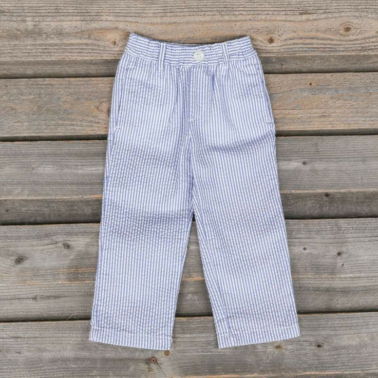 Boys Blue Seersucker Pants | E-Land | from Smocked Auctions