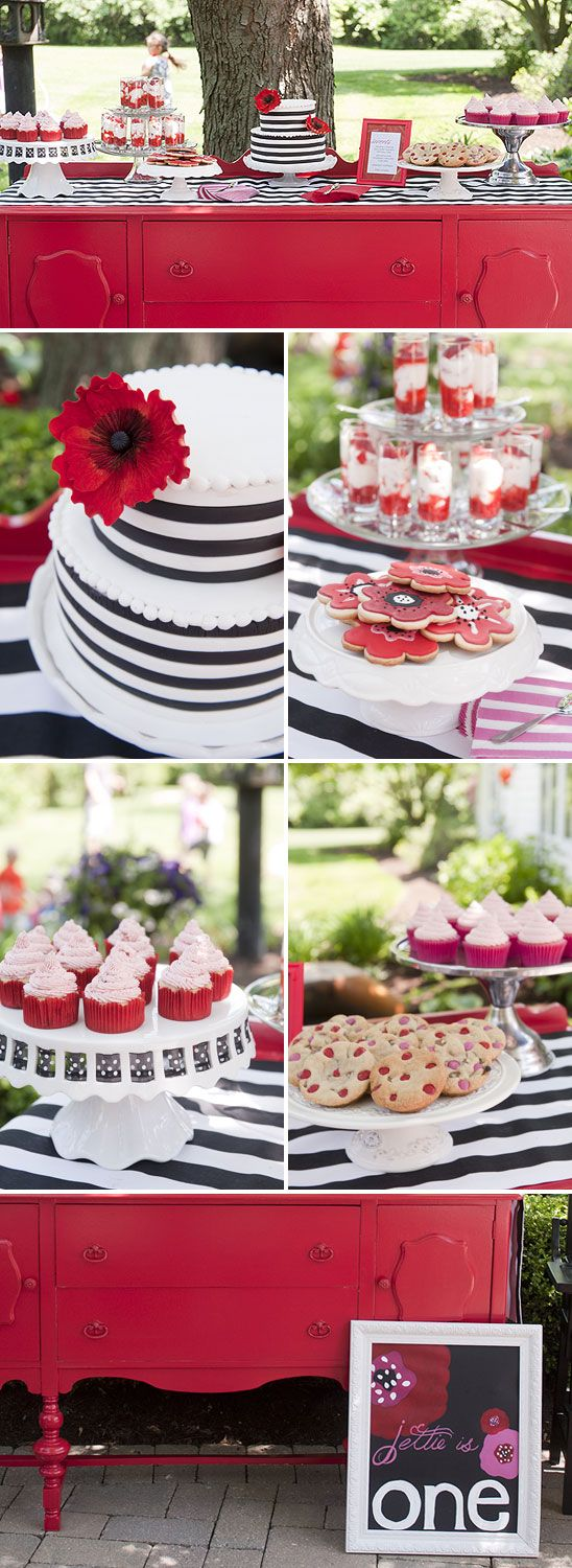 Birthday party with a red, black, and white theme.  Red poppy accents the black and white stripped decor.  Loving the poppy cookies with strawberry cheesecake shooters.