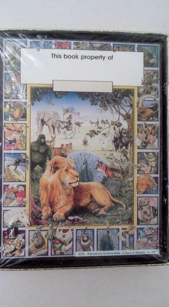 30 Self Stick Bookplates Animalia Graeme Base Lion Peacock Tiger Gorilla Zoo