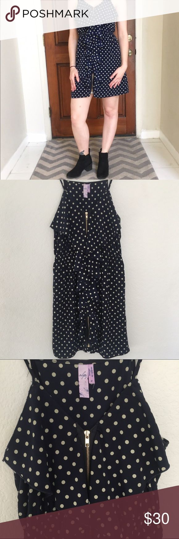 Francesca's Navy Blue Polka Dot Zip Up Dress Francesca Navy Blue and Cream Colored Polka Dot Zip Up Dress. Size Small. Has slight Ruffle detail down the front of the dress. Like new, hardly worn. Francesca's Collections Dresses Mini