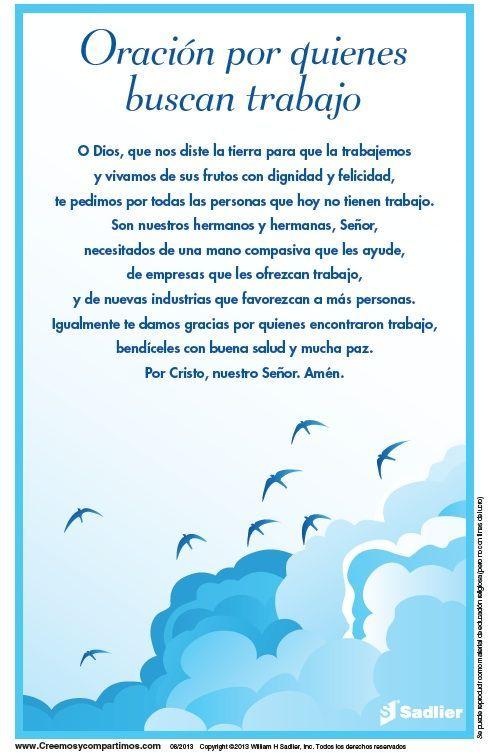 Oración por quienes buscan trabajo. Imprima las tarjetas de oración y úselas en su hogar, o su parroquia.