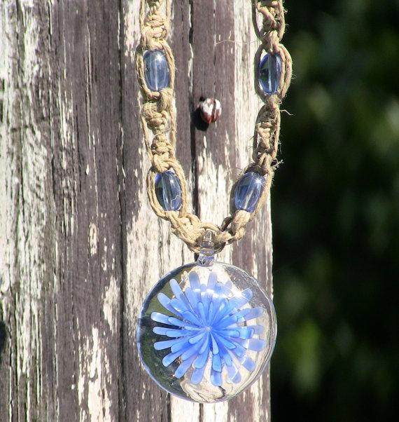 Blue Glass Lampwork Hemp Necklace by FreeSpiritWind on Etsy, $10.00