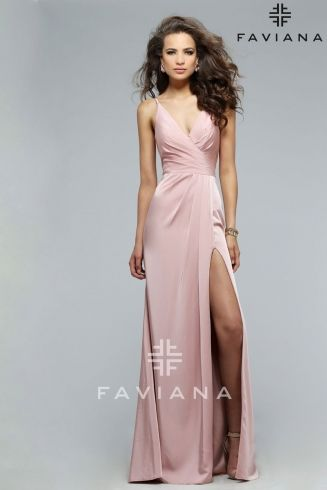 Simple, beautiful Faviana gown! Faille satin v-neck with draped front. Available in three different colors at Stephen's Prom and Beyond - Pink, Navy, and Red Wine.