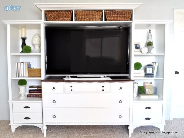 White - Entertainment Center - Makeover | Betterafter.net - Check out the BEFORE