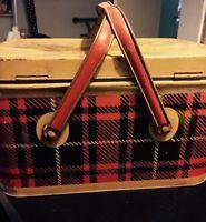 Vintage NESCO Midcentury Metal Tin Red Black Basket Plaid Picnic Basket Handles