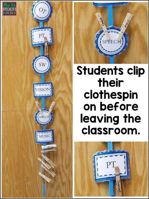 Student check out system for a quick visual on which students are out of the room. Visuals aren't just for students! Staff need visual cues, too. Here are 3 different ideas for using visuals for classroom and therapy staff. These ideas are ideal for special education programs especially those designed for students with autism.