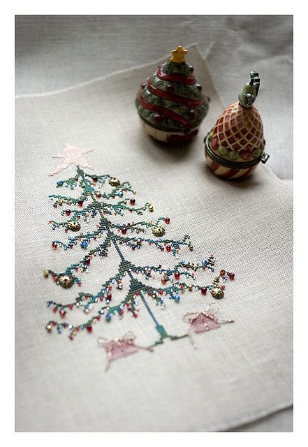 "Counted Cross Stitch Christmas Tree (From the book ""Stitch by Penny Black"")...book is out of print, but I managed to get a super good copy from a UK used book store!!"