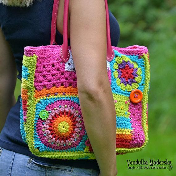 Crazy rainbow bag crochet bag pattern DIY by VendulkaM on Etsy