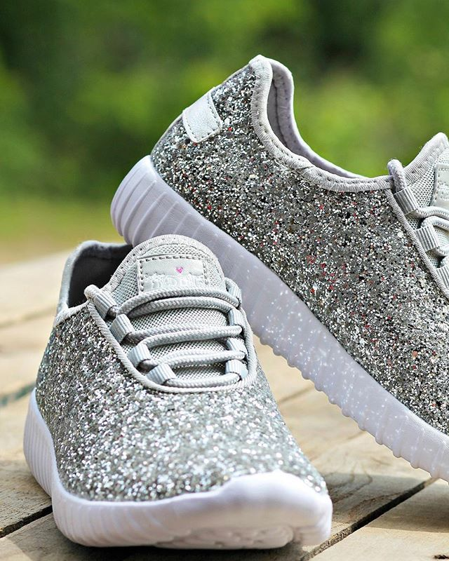 b7d9059ea17ff Glitter Bomb Sneakers - Silver | Shoes | Glitter tennis shoes, Shoes ...
