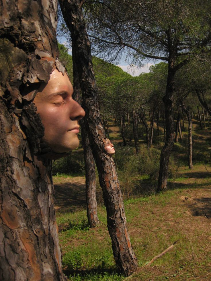Attach masks to trees. Neat idea if I ever own a forest property I will do this for sure! Freak people out! - Great for Halloween