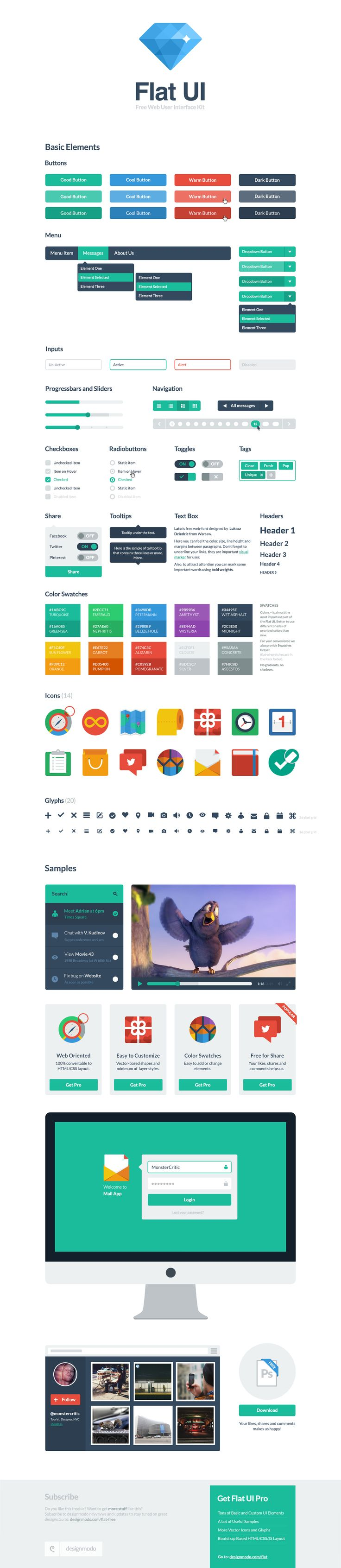 Flat UI Gratuito se basa en Twitter Bootstrap 3, con un estilo plano impresionante.