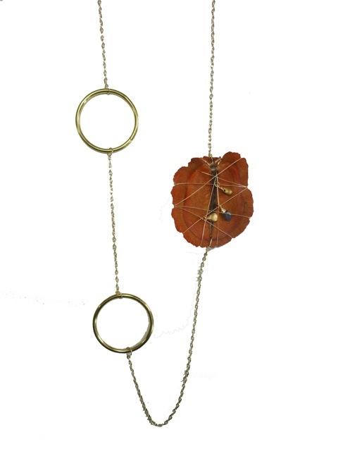 Jacaranda Seed Pod Asymmetrical Necklace-Orange.