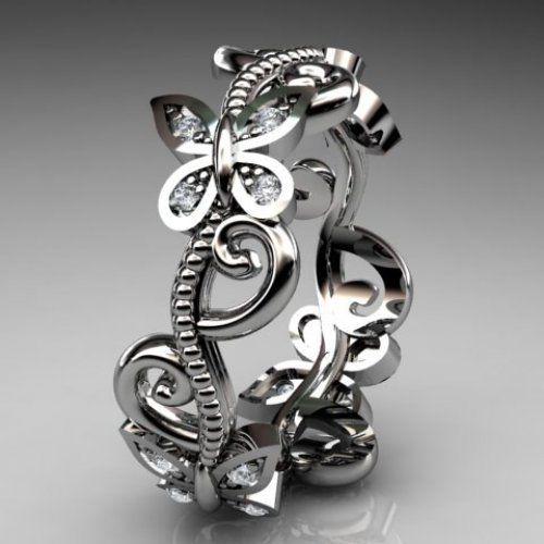 platinum diamond floral butterfly wedding ring,engagement ring,wedd......   AnjaysDesigns - Jewelry on ArtFire