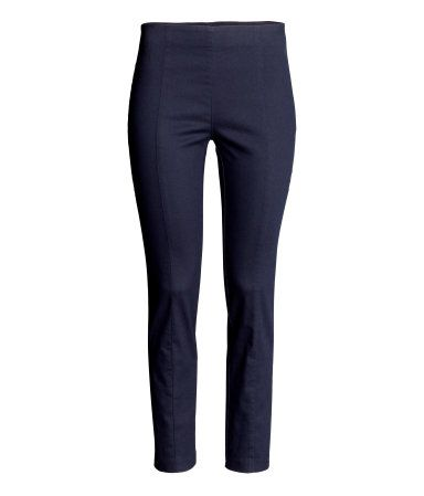 Treggings in superstretch twill with concealed elastication at the waist and slim legs with a seam down the centre.