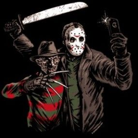Freddy and Jason BFF Selfie - horror movie mashup - GToE is your guide to the best new t-shirts to wear on Elm Street and beyond.