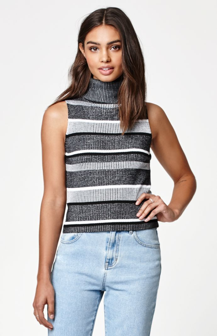 Kendall & Kylie Stripe Fine Gauge Sleeveless Turtleneck Sweater