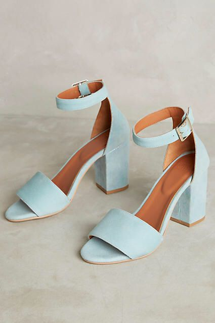 Light blue  Iridescent Heeled Sandals