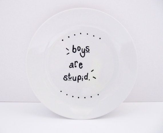 Boys Are Stupid Funny Hand-Decorated Small by LilyLovesShopping