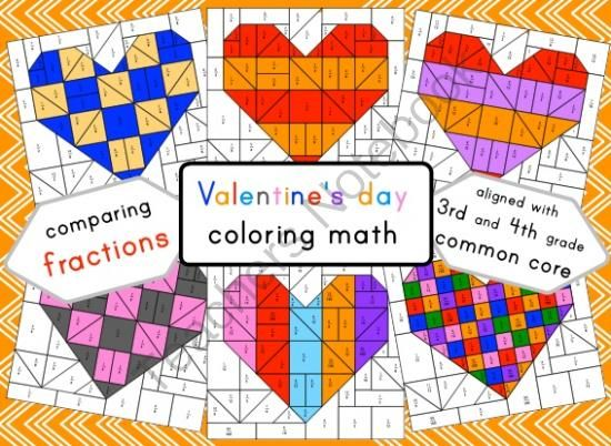Valentines day coloring math - comparing fractions - equivalent fractions from made by eleonora on TeachersNotebook.com - (15 pages) - This set of funky Valentine's day coloring puzzles provides a fun way for students to practice comparing fractions and identifying equivalent fractions.