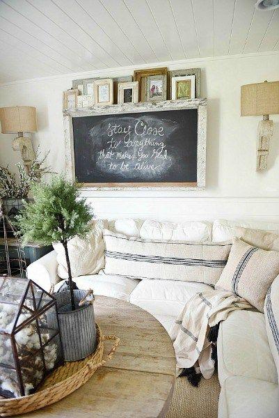 Chalkboard Above Sofa - Liz Marie Blog