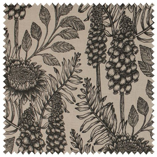 Muscari Fabric (Coal Ecru) | Abigail Borg | Surface Pattern Designer & Floral Illustrator | Traditional Surface Pattern Design