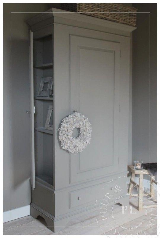 Oude / 2-deurs kast / Brown/grey / VERKOCHT | 》Uniek & Antiek | Puur & Landelijk Living