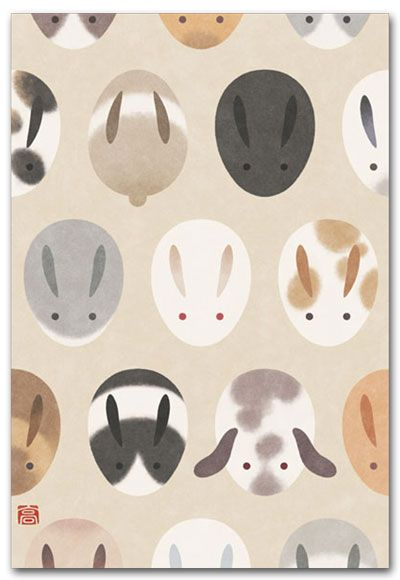 I like this because it creates a pattern out of the basic shapes whilst simultaneously working as individual illustrations. It's a new approach to drawing a rabbit, from an interesting angle.