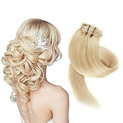 Remy Clip in Hair Extensions 100% Real Human Hair Extensions for Women 7 PCS Per Set, 38cm 45cm 50cm 55cm with Different Colors (38cm, No.613 Light Blonde): Amazon.co.uk: Beauty