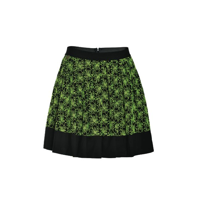 NaughtyDog #SS15 high waisted skirt realized in precious Sangallo lace with contrasting fluo floral theme.