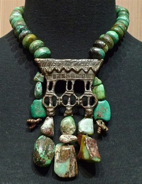 Turquoise Tribal Necklace with Bronze Pendant