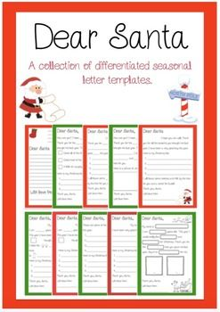 Writing a letter to Santa with your class? Look no further :) These templates cater for all levels of writers, from those who may be writing their first letter and only be able to fill in the blanks to those who can write the whole thing all on their own.