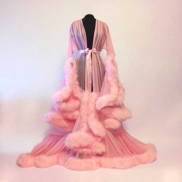 """Cassandra"" Pink Marabou Dressing Gown ($400) ❤ liked on Polyvore featuring intimates, robes, outerwear, pink bath robe, sheer robe, pink robe, dressing gown and bath robes"