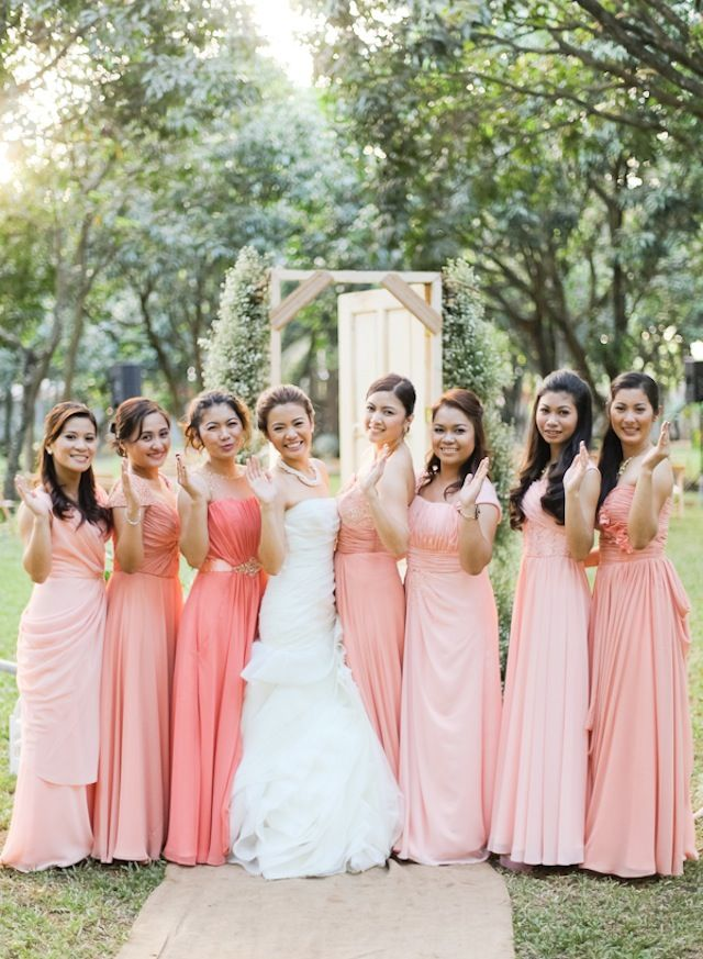 64 best peach coral wedding images on pinterest dream for Pink ombre wedding dress