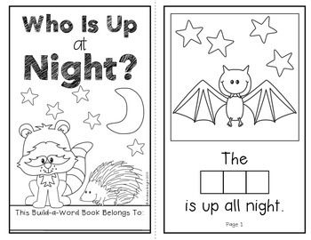 Who Is Up at Night?  (An Interactive Build-A-Word Book about Nocturnal Animals)  This download includes a 9-page student book and letter tiles to build words.  #nocturnalanimals  $