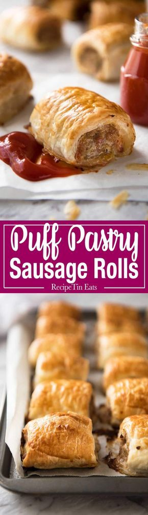 The famous Australian Sausage Rolls! As The New York Times said, they're like Pigs in Blankets, but BETTER!!! Easy to make, a homemade pork mince filling wrapped in puff pastry. www.recipetineats.com