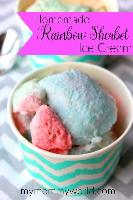The Ultimate Pinterst Party - Week 156 | When I was a kid, there was nothing better than going to the ice cream shop in the summer and getting a cone with rainbow sherbet ice cream.   I'd like to recreate those summer memories with my own kids by making our very own homemade rainbow sherbet ice cream at home...and you can too. This method is so easy that you won't mind making homemade rainbow sherbet ice cream for your family all summer long. And you won't even need an ice cream maker to do…