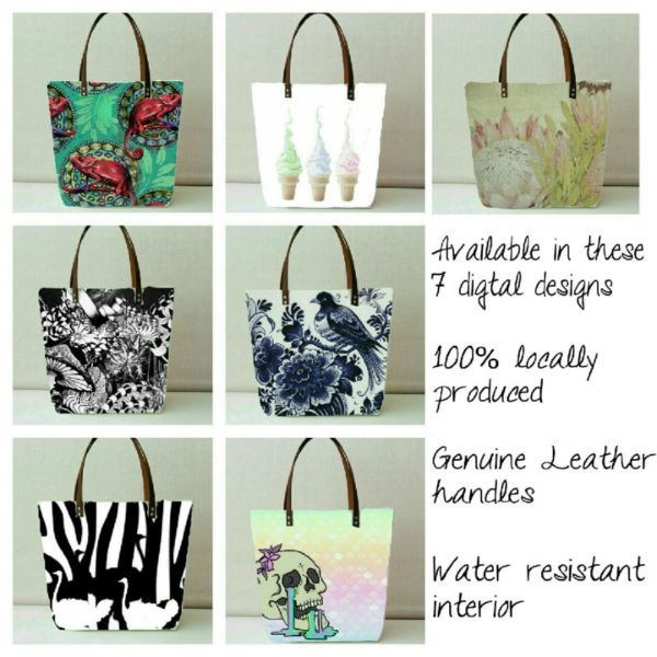 Beautiful range of all Durban made designer bags with digital printed original images and genuine leather handles...183171474