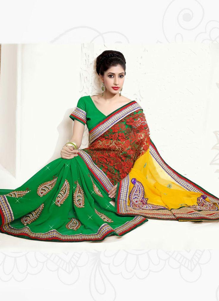 Refulgent #Green #Saree