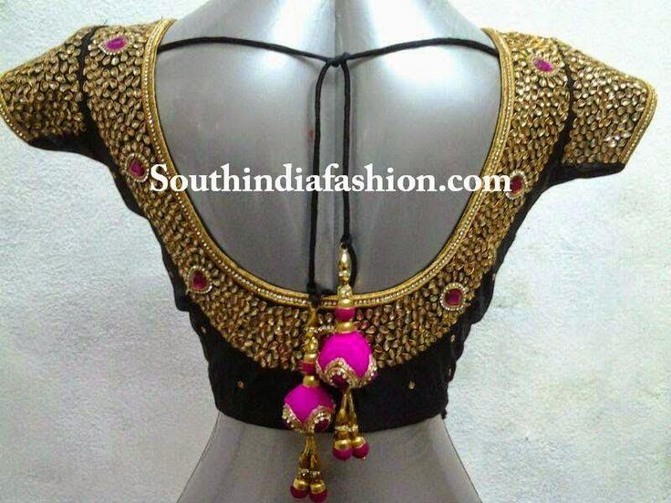 kundan work blouse fro silk sarees