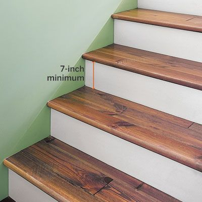staircase treads and risers - be sure they up to code -- this old house provides code requirements